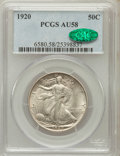 Walking Liberty Half Dollars: , 1920 50C AU58 PCGS. CAC. PCGS Population (123/756). NGC Census:(98/589). Mintage: 6,372,000. Numismedia Wsl. Price for pro...