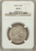 Barber Half Dollars: , 1893-O 50C AU55 NGC. NGC Census: (11/140). PCGS Population(20/136). Mintage: 1,389,000. Numismedia Wsl. Price for problem ...
