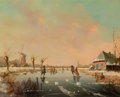 American, SALM (American, 20th Century). Skating in the Hague. Oil onwood panel. 10 x 8 inches (25.4 x 20.3 cm). Signed lower lef...