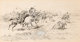 CHARLES MARION RUSSELL (American, 1864-1926) Battle Between the Crows and Blackfeet Pen and ink with white highlight o...