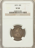 Twenty Cent Pieces: , 1875 20C VF20 NGC. NGC Census: (3/371). PCGS Population (16/564).Mintage: 36,900. Numismedia Wsl. Price for problem free N...