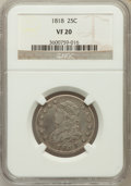 Bust Quarters: , 1818 25C VF20 NGC. NGC Census: (15/340). PCGS Population (32/370). Mintage: 361,174. Numismedia Wsl. Price for problem free...