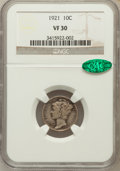 Mercury Dimes: , 1921 10C VF30 NGC. CAC. NGC Census: (32/183). PCGS Population(52/263). Mintage: 1,230,000. Numismedia Wsl. Price for probl...