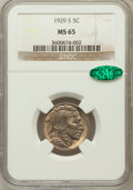 Buffalo Nickels: , 1929-S 5C MS65 NGC. CAC. NGC Census: (191/50). PCGS Population(478/175). Mintage: 7,754,000. Numismedia Wsl. Price for pro...
