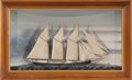 Maritime:Decorative Art, SHIP MODEL OF THE SCHOONER 'MARION SPRAGUE'. American Marine andShip Model Gallery, Salem MA. A shadowbox, sealine model of...