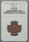 Half Cents: , 1857 1/2 C MS63 Red and Brown NGC. C-1. NGC Census: (50/57). PCGSPopulation (80/37). Mintage: 35,180. Numismedia Wsl. Pri...