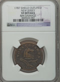 Colonials: , 1787 COPPER New Jersey Copper, Outlined Shield -- Rim Damage -- NGCDetails. VF. NGC Census: (5/38). PCGS Population (24/18...