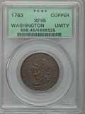 Colonials: , 1783 1C Washington Unity States Cent XF45 PCGS. PCGS Population(54/126). NGC Census: (30/66). (#689)...