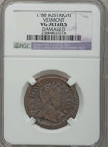 Colonials: , 1788 COPPER Vermont Copper, Bust Right -- Damaged -- NGC Details.VG. NGC Census: (5/49). PCGS Population (14/172). (#563...