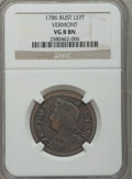 Colonials: , 1786 COPPER Vermont Copper, Bust Left VG8 NGC. NGC Census: (1/2).PCGS Population (1/11). (#551)...