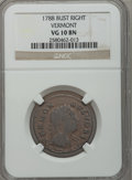 Colonials: , 1788 COPPER Vermont Copper, Bust Right VG10 NGC. NGC Census:(8/41). PCGS Population (19/153). (#563)...