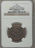 Colonials, 1787 COPPER New Jersey Copper, Outlined Shield -- Struck Off Center-- Fine 12 NGC. M. 38-c. R.3. NGC Census: (2/45). PCGS ...
