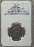 Colonials: , 1724 1/2P Hibernia Halfpenny -- Improperly Cleaned -- NGC. VF. NGCCensus: (1/14). PCGS Population (3/43). (#190.11)...