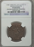 Colonials: , 1787 1C Massachusetts Cent, Arrows in Left Talon -- EnvironmentalDamage -- NGC Details. VF. NGC Census: (1/31). PCGS Popul...