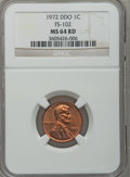 Lincoln Cents, 1972 1C DDO MS64 Red NGC. FS-102. NGC Census: (24/401). PCGSPopulation (123/600). Mintage: 2,933,224,960. Numismedia Wsl....