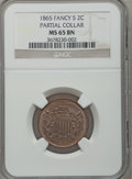 Two Cent Pieces: , 1865 2C MS65 Brown NGC. Partial Collar. NGC Census: (361/43). PCGSPopulation (36/4). Mintage: 13,640,000. Numismedia Wsl. ...