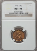 Lincoln Cents: , 1928-S 1C MS64 Red and Brown NGC. NGC Census: (150/40). PCGSPopulation (126/3). Mintage: 17,266,000. Numismedia Wsl. Price...