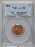 Indian Cents: , 1892 1C MS63 Red PCGS. Ex: Teich Family Collection. PCGS Population(14/167). NGC Census: (32/184). Mintage: 37,649,832. Nu...