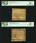 Colonial Notes:Pennsylvania, Pennsylvania April 3, 1772 2s 6d PCGS Extremely Fine Apparent 45& PCGS Apparent Very Fine 35.. ... (Total: 2 notes)