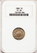 Proof Shield Nickels: , 1880 5C PR66 NGC. NGC Census: (140/31). PCGS Population (120/15).Mintage: 3,955. Numismedia Wsl. Price for problem free NG...