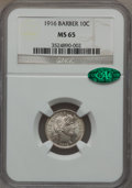 Barber Dimes: , 1916 10C MS65 NGC. CAC. NGC Census: (142/42). PCGS Population(112/45). Mintage: 18,490,000. Numismedia Wsl. Price for prob...