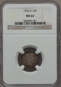 Barber Dimes: , 1906-D 10C MS64 NGC. NGC Census: (20/24). PCGS Population (38/24).Mintage: 4,060,000. Numismedia Wsl. Price for problem fr...