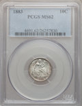 Seated Dimes: , 1883 10C MS62 PCGS. PCGS Population (61/354). NGC Census: (41/315).Mintage: 7,674,673. Numismedia Wsl. Price for problem f...