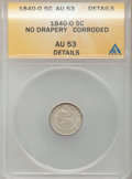 Seated Half Dimes: , 1840-O H10C No Drapery -- Corroded -- ANACS. AU53 Details. NGCCensus: (3/31). PCGS Population (5/23). Mintage: 695,000. Nu...