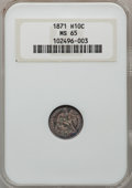 Seated Half Dimes: , 1871 H10C MS65 NGC. NGC Census: (31/21). PCGS Population (26/24).Mintage: 1,873,960. Numismedia Wsl. Price for problem fre...