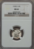 Mercury Dimes: , 1928-D 10C MS62 NGC. NGC Census: (14/66). PCGS Population (13/55).Mintage: 4,161,000. Numismedia Wsl. Price for problem fr...