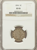 Liberty Nickels: , 1894 5C XF45 NGC. NGC Census: (4/267). PCGS Population (14/402).Mintage: 5,413,132. Numismedia Wsl. Price for problem free...