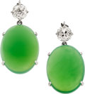 Estate Jewelry:Earrings, Chrysoprase, Diamond, White Metal Drops. ...