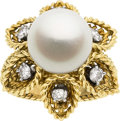 Estate Jewelry:Rings, South Sea Cultured Pearl, Diamond, Gold Ring, French. ...