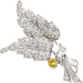 Estate Jewelry:Brooches - Pins, Fancy Colored Diamond, Diamond, Platinum Brooch, Bailey, Banks & Biddle. ...
