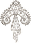Estate Jewelry:Brooches - Pins, Edwardian Diamond, Platinum Brooch. ...