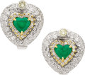 Estate Jewelry:Earrings, Emerald, Diamond, Colored Diamond, Gold Earrings. ...