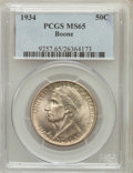 Commemorative Silver: , 1934 50C Boone MS65 PCGS. PCGS Population (585/248). NGC Census:(433/195). Mintage: 10,007. Numismedia Wsl. Price for prob...