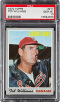 Baseball Cards:Singles (1970-Now), 1970 Topps Ted Williams #211 PSA Gem Mint 10....