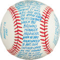 Autographs:Baseballs, 1980's Bob Cain Recounts Eddie Gaedel Game Single SignedBaseball....