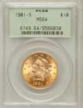 Liberty Eagles, 1901-S $10 MS64 PCGS. Breen-7075....