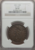 Bust Half Dollars: , 1812 50C XF45 NGC. O-103. NGC Census: (85/543). PCGS Population(108/499). Mintage: 1,628,059. Numismedia Wsl. Price for p...