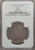 Bust Half Dollars, 1811 50C Small 8 XF40 NGC. O-111a. PCGS Population (40/275).(#6097)...