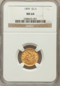 Liberty Quarter Eagles: , 1899 $2 1/2 MS64 NGC. NGC Census: (155/116). PCGS Population(133/90). Mintage: 27,200. Numismedia Wsl. Price for problem f...