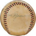Autographs:Baseballs, 1930 Fred Fitzsimmons Single Signed Baseball....