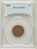 Indian Cents: , 1884 1C XF45 PCGS. PCGS Population (11/177). NGC Census: (12/504).Mintage: 23,261,742. Numismedia Wsl. Price for problem f...