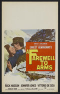 "Movie Posters:War, A Farewell to Arms (20th Century Fox, 1957). Window Card (14"" X 22""). War. Starring Rock Hudson, Jennifer Jones, Vittorio De..."