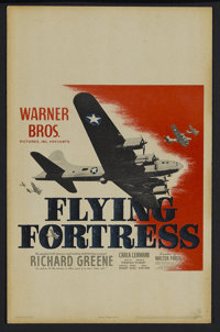 "Flying Fortress (Warner Brothers, 1942). Window Card (14"" X 22""). War. Starring Richard Greene, Carla Lehmann..."