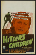 "Movie Posters:War, Hitler's Children (RKO, 1943). Window Card (14"" X 22""). Drama.Starring Tim Holt, Bonita Granville, Kent Smith, Otto Kruger ..."