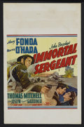 "Movie Posters:War, Immortal Sergeant (20th Century Fox, 1943). Window Card (14"" X22""). War. Starring Henry Fonda, Maureen O'Hara, Thomas Mitch..."