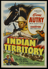 "Indian Territory (Columbia, 1950). One Sheet (27"" X 41""). Western. Starring Gene Autry, Champion the Wonder Ho..."